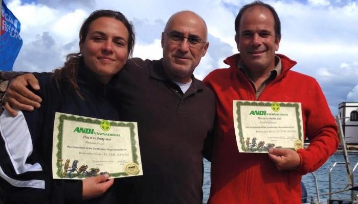 Daniel Malfanti certificado como instructor JJ-CCR junto con Christian Massad en Lanzarote