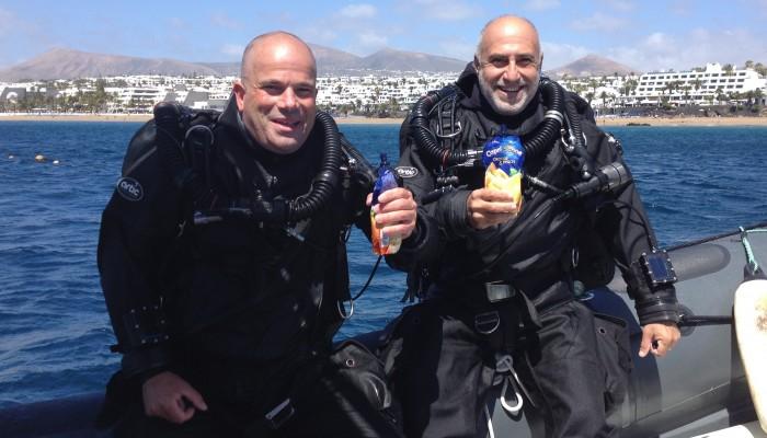 Daniel Malfanti y Christian Massad luego de buceo con rebreather JJ-CCR en Lanzarote