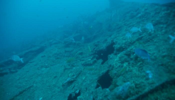 Foto de la cubierta del SMS Dresden hundido en Bahia Cumberland en Juan Fernandez